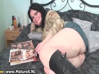 horny aged housewife showing her large