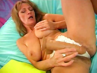 hairy blonde cums on her toy