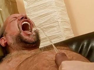 grandad fucking and pissing on nasty redhead