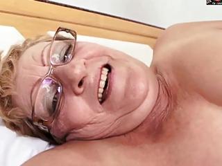 hirsute granny in glasses receives bbc