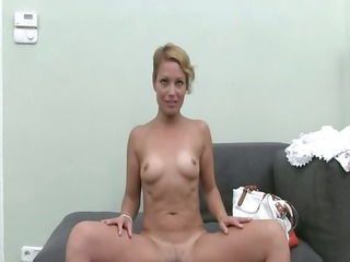 hot woman masturbate with toy on bed
