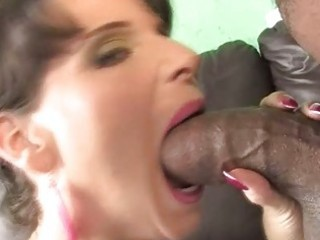 busty milf riding a dark pounder to save her son