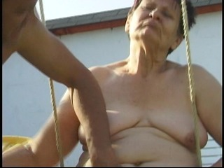grandmother receives cum on her face