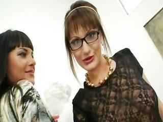 bizarre lesbo hotties dildoing gazoo holes
