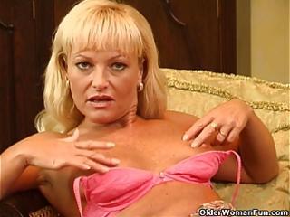 sexy older woman with curvy body masturbates
