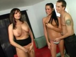 mother and daughter threesome.