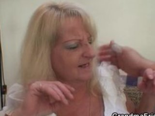 drunk blond granny in sexy three-some fuckfest