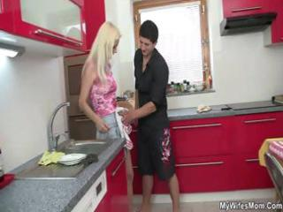 he is copulates mother in law right at the kitchen