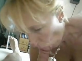blonde aged engulf off at home