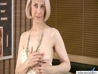 curly mature masturbation with beads