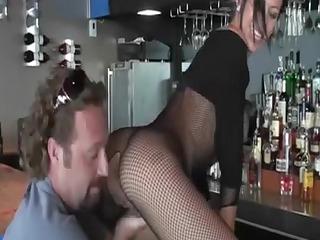 sexy mamma has sex in the bar