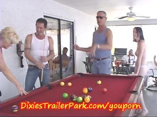 trailer trash pool shooting with milf and co-ed