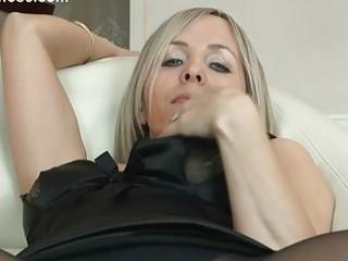 hawt blonde milf in hose uncovers her gazoo on