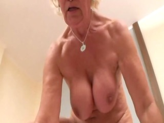 bbw non-professional granny grinds on penis with