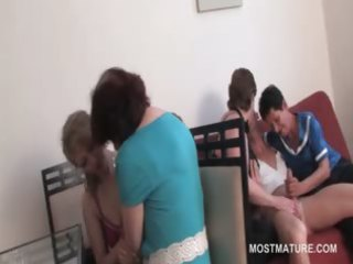 turned on slutty matures fight over knob in group
