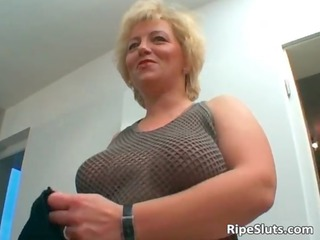 breasty older golden-haired acquires pussy screwed