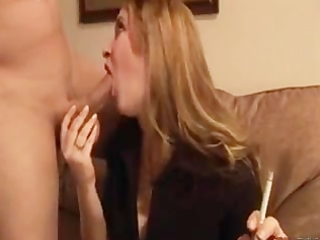 wife gives her guy a smokey bj