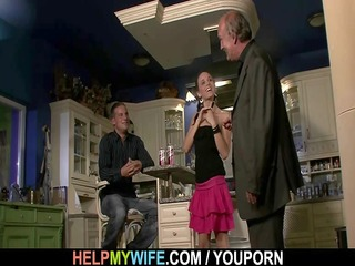 old hubby needs aid to bang his young wife