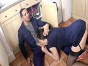 see aged british housewife clean the plumbers