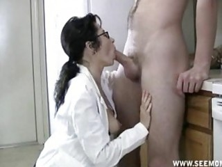 mother i with glasses acquires mouth full of cum