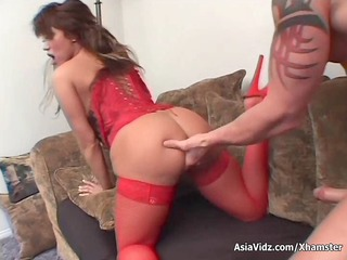 massive titted oriental pornstar in hot red