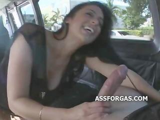 super hawt dark brown engulfing jock in a van on