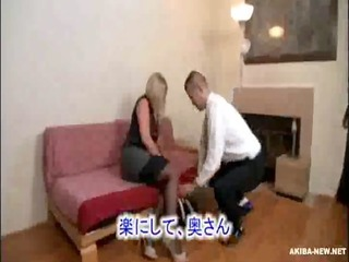 marvelous aged blonde wife coercive by japanese