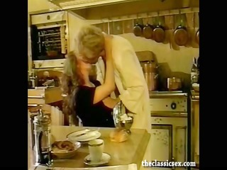 breasty retro playgirl sucks dick in the kitchen