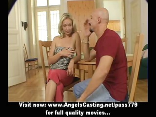 sporty golden-haired enjoyable talking with large