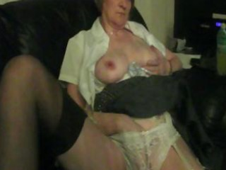 corpulent granny is home alone and gives herself