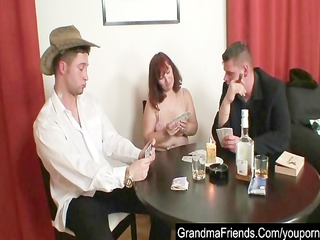 granny plays poker and gets drilled