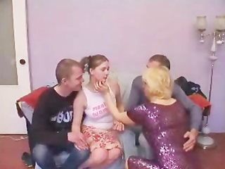 aged broad acquires lucky in group gangbang