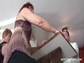 kinky aged harlots pole dancing in group sex