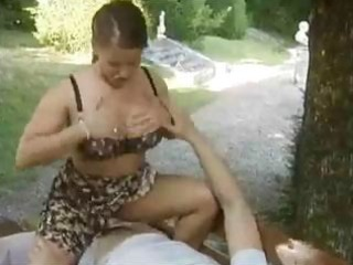 busty mature german beauty sits on his juvenile