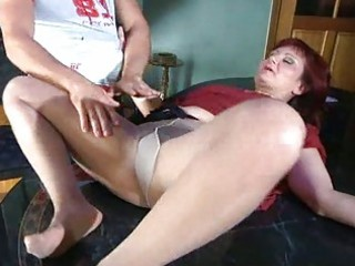 sexually excited mamma with nylon tights stuffed