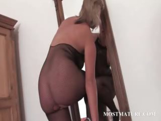 sexy milf in hose riding marital-device