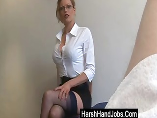 golden-haired secretary gives a handjob, but its