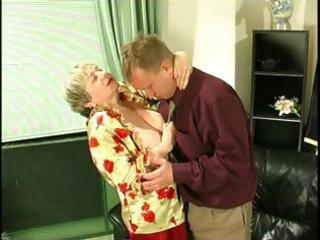 corpulent blond granny uses her biggest saggy