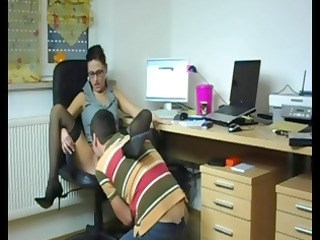 geeky young dark brown secretary acquires taped