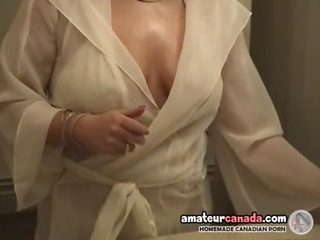 chunky wife in white lingerie uses large toys and