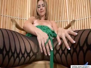 milfy hose disrobe and toying