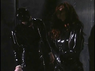 lesbos in darksome and purple latex acquire coarse