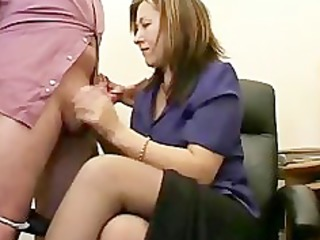 hawt granny secretary jerks the semen from bosses