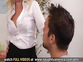 blond teacher is a cougar and acquires banged by