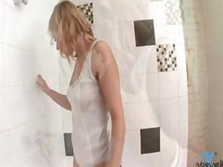 busty blond bathes in white cotton wife beater