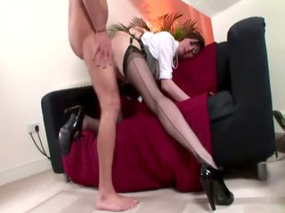 excited nylons non-professional receives a jizz
