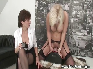 sexually excited blonde rides on saddle sextoy