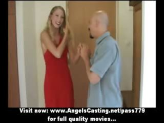 delightsome fascinating blond wife talking in the