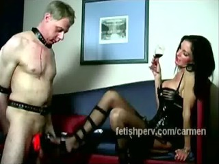 sexy female-dominator on leather humiliate poor