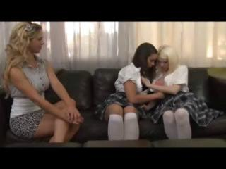 schoolgirls and mature blond have a lesbo some